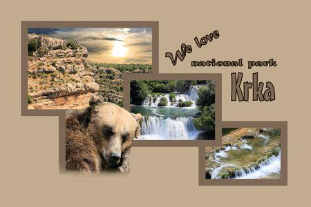 cascade mountains: Design for postcard, Skradinski buk, Krka, Croatia, with text