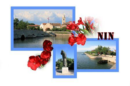 Design for postcard, Nin, Croatia, with text photo