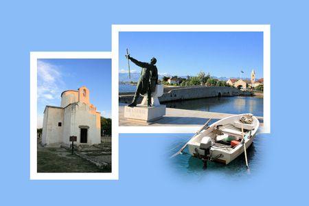 combi: Design for postcard, Nin, Croatia Stock Photo