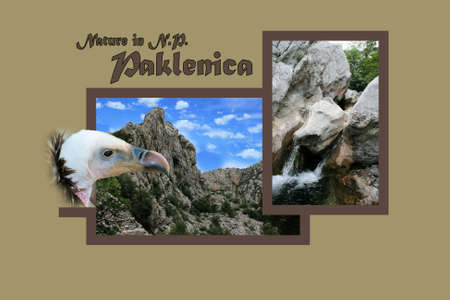 Design for postcard, Paklenica, Croatia, with text photo