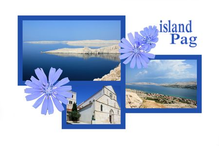 Design for postcard, Pag, Croatia, with text photo