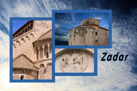 Design for postcard, Zadar, Croatia, with text photo