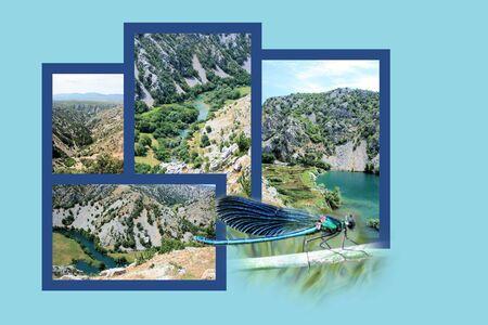 combi: Design for postcard, Krupa river, Croatia Stock Photo