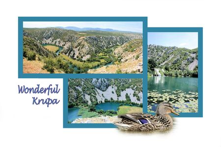 Design for postcard, Krupa river, Croatia, with text photo