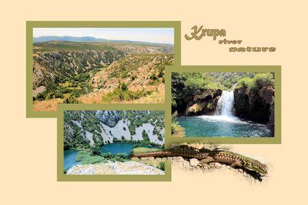 combi: Design for postcard, Krupa river, Croatia, with text