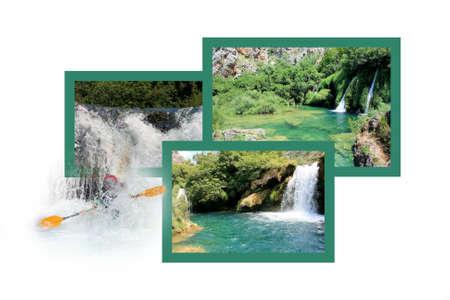 cascade mountains: Design for postcard, Krupa river, Croatia Stock Photo