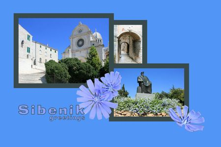Design for postcard, Sibenik, Croatia, with text photo