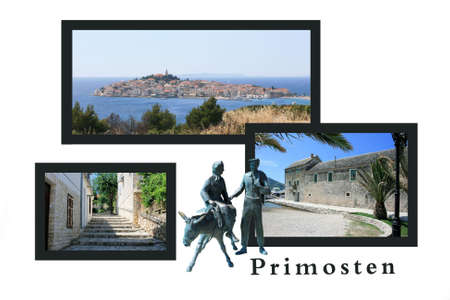 Design for postcard, Primosten, Croatia, with text photo