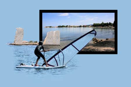 isles: Design for postcard, Sukosan, Croatia Stock Photo