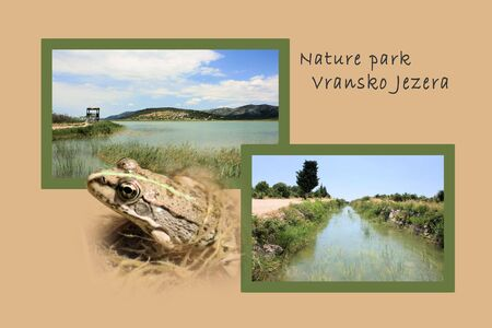 combi: Design for postcard, Vransko Jezero, Croatia, with text