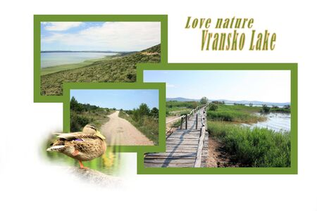 Design for postcard, Vransko Jezero, Croatia, with text photo