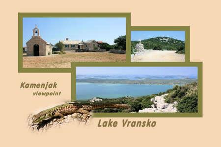 walking path: Design for postcard, Vransko Jezero, with text Stock Photo