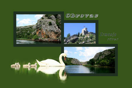 Design for postcard, Zrmanja river inland, with text