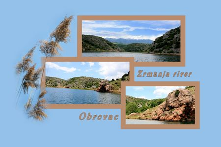 combi: Design for postcard, Zrmanja river inland, with text