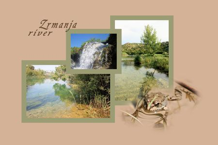 Design for postcard, Zrmanja, region Muscovic, with text photo
