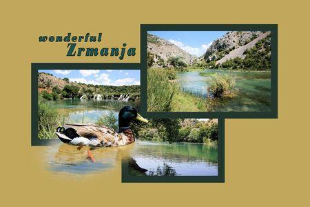 region: Design for postcard, Zrmanja, region Muscovic, with text