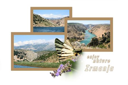 Design for postcard, Zrmanja, Winnetou river, with text photo