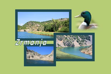 Design for postcard, Zrmanja, Winnetou river, with text Stock Photo