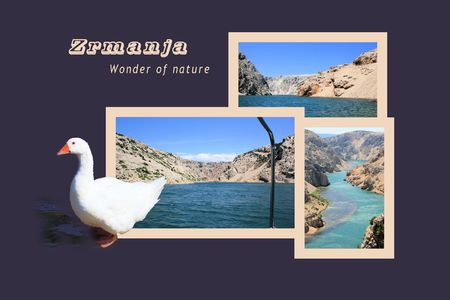 Design For Postcard Zrmanja Winnetou River With Text Stock Photo