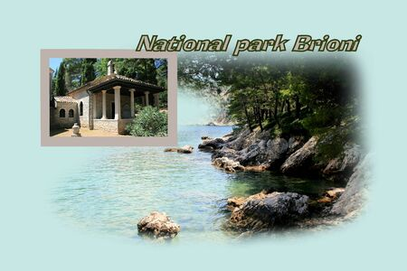 national park: Design for postcard, national park Brioni, Croatia, with text