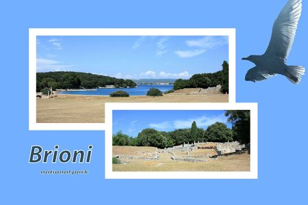 Design for postcard, national park Brioni, Croatia, with text