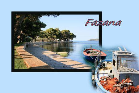 combi: Design for postcard, Fazana, Croatia, with text Stock Photo