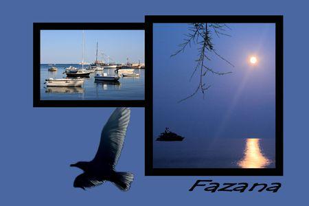 croatia: Design for postcard, Fazana, Croatia, with text Stock Photo