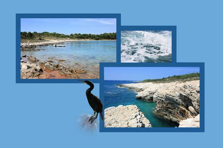 panoramic beach: Design for postcard, Kamenjak, Croatia
