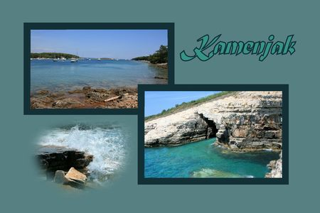 Design for postcard, Kamenjak, Croatia, with text photo