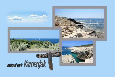 Design for postcard, Kamenjak, Croatia, with text Banco de Imagens