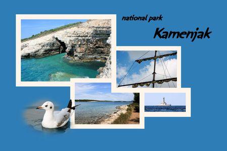 brook: Design for postcard, Kamenjak, Croatia, with text Stock Photo