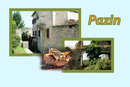 Ontwerp voor postkaart, Pazin, Kroatië, met tekst Stockfoto