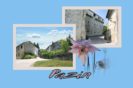 Design for postcard, Pazin, Croatia, with text photo
