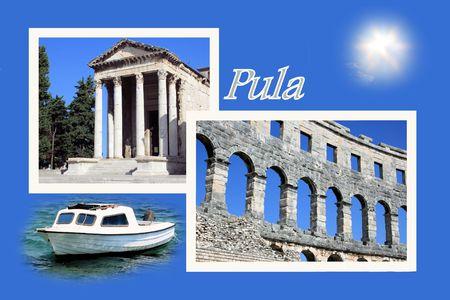 roman empire: Design for postcard, Pula, Croatia, with text