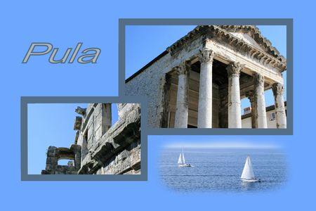 Ontwerp voor briefkaart, Pula, Kroatië, met tekst