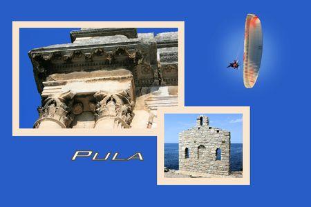 Design for postcard, Pula, Croatia, with text