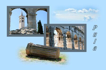 Design for postcard, Pula, Croatia, with text photo