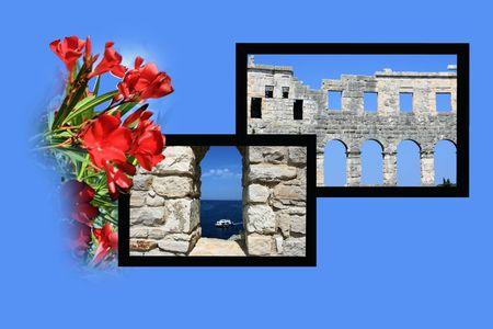 roman empire: Design for postcard, Pula, Croatia