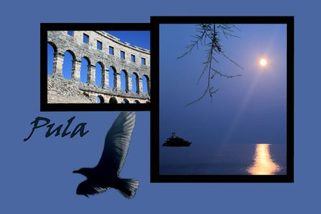 Design for postcard, Pula, Croatia, with text