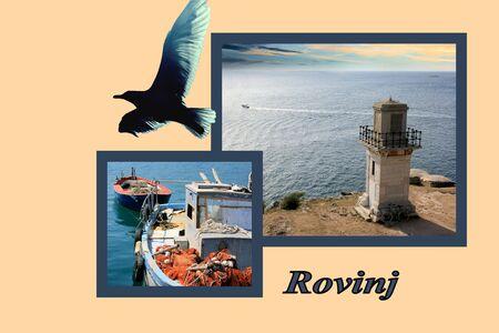 combi: Design for postcard, Rovinj, Croatia, with text