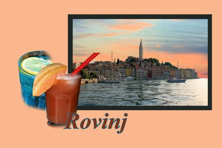 Design for postcard, Rovinj, Croatia, with text photo