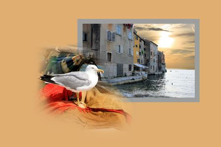 combi: Design for postcard, Rovinj, Croatia Stock Photo