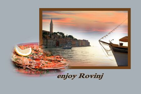 panoramic beach: Design for postcard, Rovinj, Croatia, with text