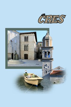 Design for postcard, Cres, Croatia, with text photo