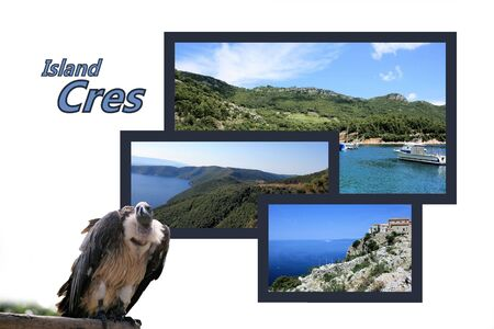 Design for postcard, island Cres, Croatia, with text Stock Photo