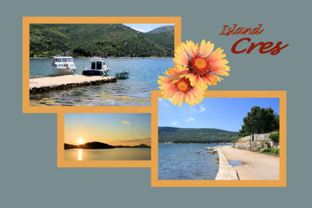 combi: Design for postcard, island Cres, Croatia, with text Stock Photo