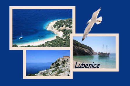 Design for postcard, Lubenice, Croatia, with text photo