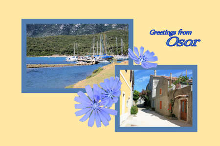 Design for postcard, Osor, Croatia, with text photo