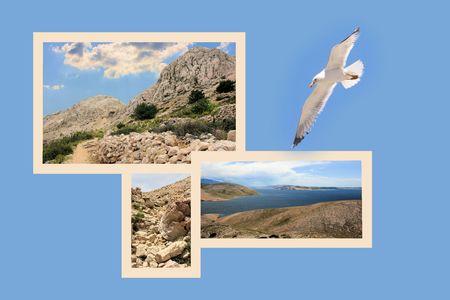 Design for postcard, Baska, to lighthouse,  Croatia Reklamní fotografie