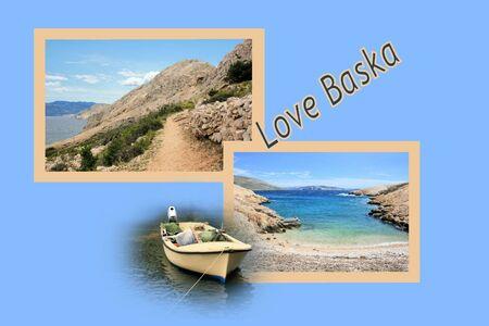 Design for postcard, Baska, to lighthouse,  Croatia, with text